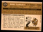 1960 Topps #270  Bob Turley  Back Thumbnail