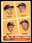 1960 Topps #468   -  Johnny Keane / Howie Pollet / Ray Katt / Harry Walker Cardinals Coaches Front Thumbnail