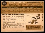 1960 Topps #55  Bill Mazeroski  Back Thumbnail