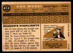 1960 Topps #418  Don Mossi  Back Thumbnail