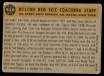 1960 Topps #456   -  Rudy York / Billy Herman / Sal Maglie / Del Baker Red Sox Coaches Back Thumbnail