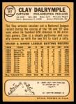 1968 Topps #567  Clay Dalrymple  Back Thumbnail