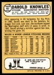 1968 Topps #483  Darold Knowles  Back Thumbnail