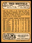 1968 Topps #133  Fred Whitfield  Back Thumbnail