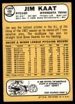 1968 Topps #450  Jim Kaat  Back Thumbnail