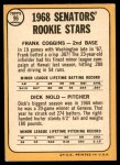 1968 Topps #96   -  Frank Coggins / Dick Nold Senators Rookies Back Thumbnail