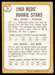 1968 Topps #384   -  Hal McRae / Bill Henry Reds Rookies Back Thumbnail