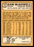 1968 Topps #115  Sam McDowell  Back Thumbnail