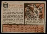 1962 Topps #412  Charlie James  Back Thumbnail