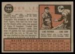 1962 Topps #166 GRN Don Lee  Back Thumbnail
