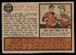 1962 Topps #189 NRM Dick Hall  Back Thumbnail