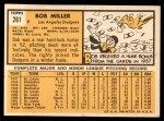 1963 Topps #261  Bob Miller  Back Thumbnail