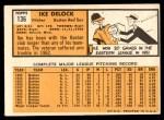 1963 Topps #136  Ike Delock  Back Thumbnail