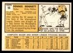 1963 Topps #56  Dennis Bennett  Back Thumbnail
