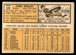 1963 Topps #528  Carl Willey  Back Thumbnail