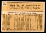 1963 Topps #525  Nellie Fox  Back Thumbnail