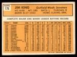 1963 Topps #176  Jim King  Back Thumbnail