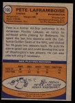 1974 Topps #166  Pete Laframboise  Back Thumbnail