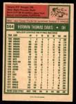 1975 O-Pee-Chee #564  Tommy Davis  Back Thumbnail