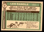 1976 O-Pee-Chee #31  Len Randle  Back Thumbnail