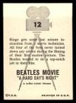 1964 Topps Beatles Movie #12   Ringo Gets Some Instruction Back Thumbnail