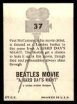 1964 Topps Beatles Movie #37   Paul in Top Hat Back Thumbnail