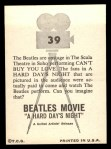 1964 Topps Beatles Movie #39   Beatles In The Scala Theatre Back Thumbnail