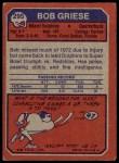 1973 Topps #295  Bob Griese  Back Thumbnail