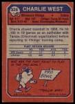 1973 Topps #328  Charlie West  Back Thumbnail