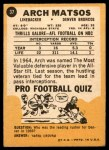 1967 Topps #37  Archie Matsos  Back Thumbnail