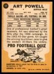 1967 Topps #17  Art Powell  Back Thumbnail