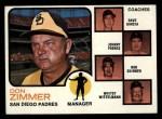 1973 Topps #12 BRN  -  Don Zimmer / Dave Garcia / Johnny Podres / Bob Skinner / Whitey Wietelemann Padres Leaders Front Thumbnail