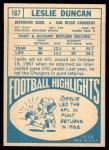 1968 Topps #167  Leslie Duncan  Back Thumbnail