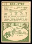 1968 Topps #52  Bob Jeter  Back Thumbnail