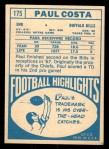 1968 Topps #175  Paul Costa  Back Thumbnail