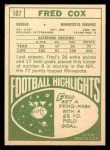 1968 Topps #107  Fred Cox  Back Thumbnail