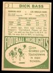 1968 Topps #2  Dick Bass  Back Thumbnail