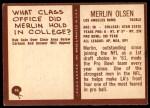 1967 Philadelphia #94  Merlin Olsen  Back Thumbnail
