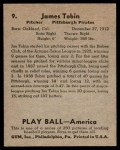 1939 Play Ball #9  Jim Tobin  Back Thumbnail