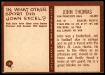 1967 Philadelphia #177  John Thomas  Back Thumbnail