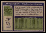 1972 Topps #248  Lance Alworth  Back Thumbnail