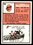 1966 Topps #100  Paul Rochester  Back Thumbnail