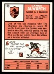1966 Topps #119  Lance Alworth  Back Thumbnail