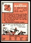 1966 Topps #67  Len Dawson  Back Thumbnail