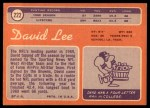 1970 Topps #222  David Lee  Back Thumbnail