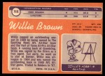 1970 Topps #144  Willie Brown  Back Thumbnail