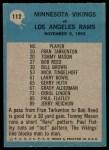 1964 Philadelphia #112   -  Norm Van Brocklin Vikings Play of the Year Back Thumbnail