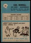 1964 Philadelphia #65  Earl Morrall   Back Thumbnail