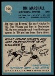 1964 Philadelphia #104  Jim Marshall  Back Thumbnail