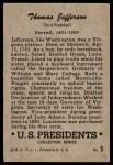 1952 Bowman U.S. Presidents #5  Thomas Jefferson   Back Thumbnail